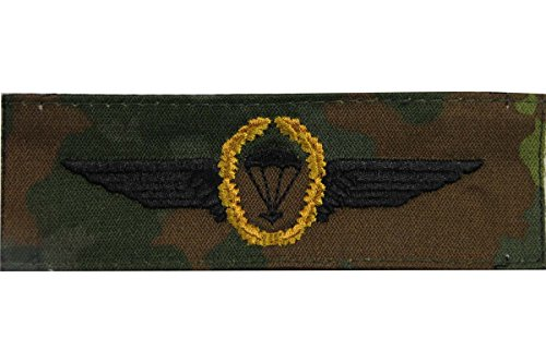 Unbekannt Bundeswehr Springerabzeichen -Gold- Abzeichen Fallschirmjäger Stoff: Flecktarn Textil Aufnäher