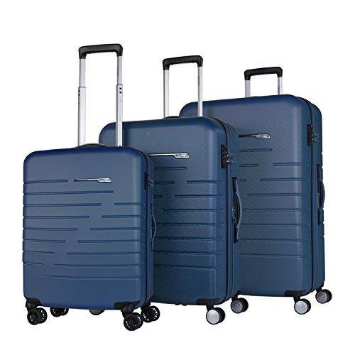 JASLEN - 56600 Juego Set 3 Maletas Trolley 50/60 / 70 cm ABS. Expandibles. Rígidas, Resistentes y Ligeras. 4 Ruedas Dobles. Candado TSA. Pequeña Low Cost, Color Azul