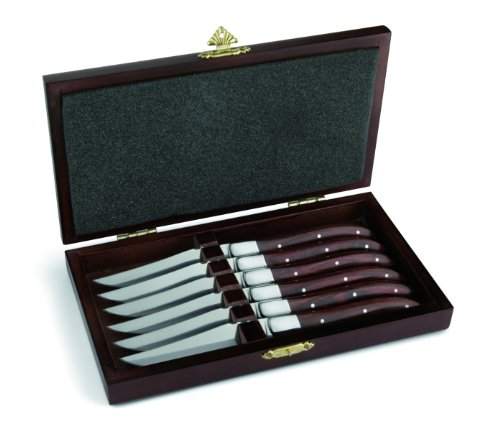 Amefa 252000WP00K35 Royal Steak Assortiment de 6 couteaux à viande Laguiole avec poignée en bois de pakka livrés dans un écrin de bois