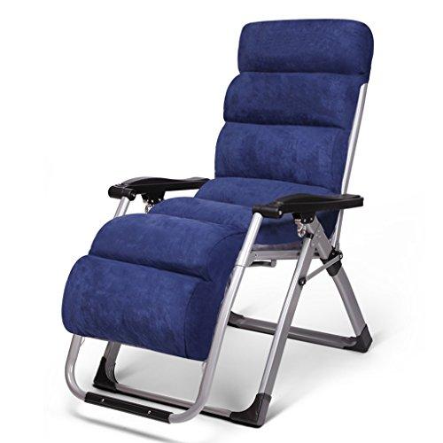 Ali Chaises longues Chaises pliantes Déjeuner Pause-lit avec chaises longues en coton ( Couleur : Bleu )