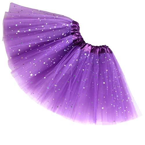 Layered Tüll-rock (Reciy Sparkle für Mädchen Prinzessin Ballett Dance Layered Tüll Tutu Röcke, 2-8T, dunkelviolett)