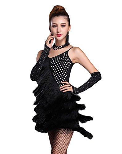 NiSeng Damen Quasten mit Strass LatinTanzkostüm Lateinische Kleidung Latein Kostüm Tanzenkleid S Schwarz (Schwarz Contemporary Dance Kostüm)