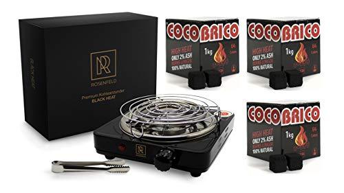 M. ROSENFELD Premium Shisha Kohleanzünder für Shisha Kohle Black Heat (1000W | Anzünder Elektrisch | Schwarz) + Gitter + Zange aus Edelstahl + Langes 140 cm Kabel (Schwarz + 3 KG Kohle)