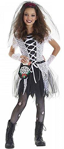 Mädchen 4 Stück Gothik Totenbraut Halloween Kostüm Kleid Outfit 4-12 Jahre - Schwarz, 4-6 Years
