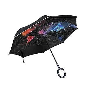 jstel doble capa diseño mapa del mundo gran ciudad paraguas coches Reverse resistente al viento lluvia paraguas para coche al aire libre con asa en forma de C
