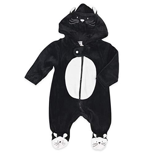 Baby Overall schwarz-weiß | Motiv: Katze | Marke: Just Too Cute | Baby Strampler mit Kapuze für Neugeborene & Kleinkinder | Größe: 6-9 Monate (68/74)