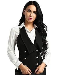 ba9d010680103d Tiaobug Damen Weste Anzugweste in rot, schwarz ärmellose taillenlange Jacke  Basic Klassisch Modisch Business Westen Business…