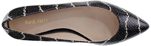 Nine West Onlee Leather Ballet Flat Black/Black/White