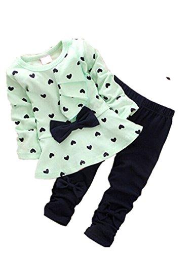 2PCS Baby Kinder Mädchen T-Shirt Tops + Hosen Bekleidungssets Babykleidung Tops Hose Outfits Kleidung Set Tops Pants Beiläufig Blumen Trainingsanzug Hosen Kinder Set (0-24Monat) LMMVP (Grün, 110) (Grüne Velour Hose)