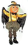 toybakery - Halloween Dekoration, Deko lachende Kürbis Vogelscheuche, 100cm, Scarecrow Pumpkin, ideal für Jede Halloween Party / Feier, Gelb