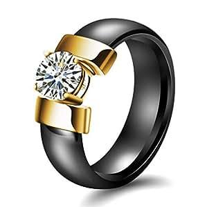 CHLOBG Unisex Ceramic Jewellery Zircon Glossy Wedding Band Ring Black Gold Size L
