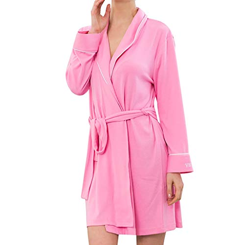Komfortables Kurzarm-baumwolle (Neue Damen Nachtwäsche FGHYH Damen Langarm Baumwolle Spa Komfortable Bad Strick Pyjamas(S, Hot Rosa))