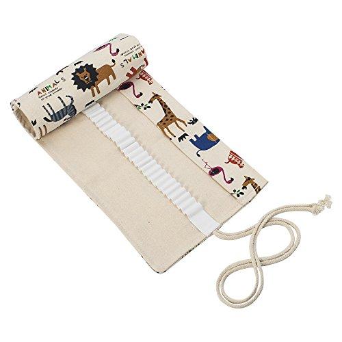 Scriptract 48schede matite wrap, tela arrotolabile portamatite, matite colorate organizzatore per portatile per bambini e adulti, artists & sketchers (matite non sono incluse) animal