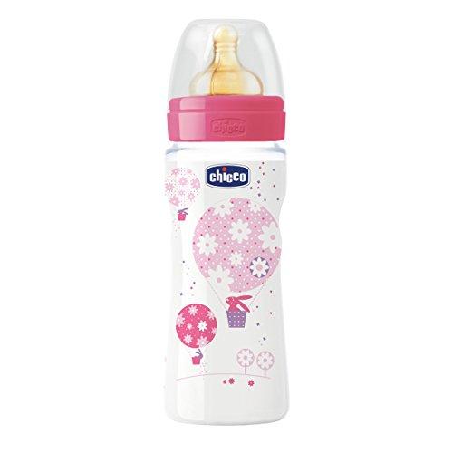 Chicco 00070734100040 - Biberon con tetina de caucho, de flujo papilla, 0% BPA, 330 ml, color rosa