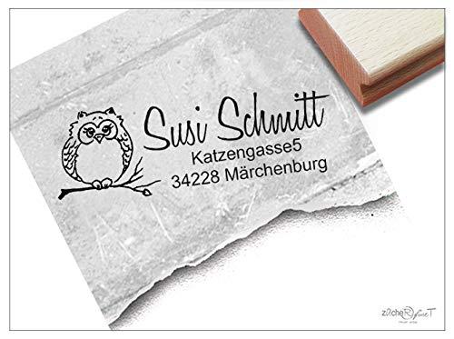Stempel Individueller Adressstempel EULE - Familienstempel personalisiert Name Adresse Tier, Geschenk für Kinder - zAcheR-fineT