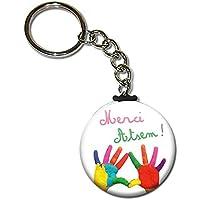 Merci ATSEM Porte clés chaînette 38mm ( Idée Cadeau Fin d'année Scolaire École Noël Remerciement )
