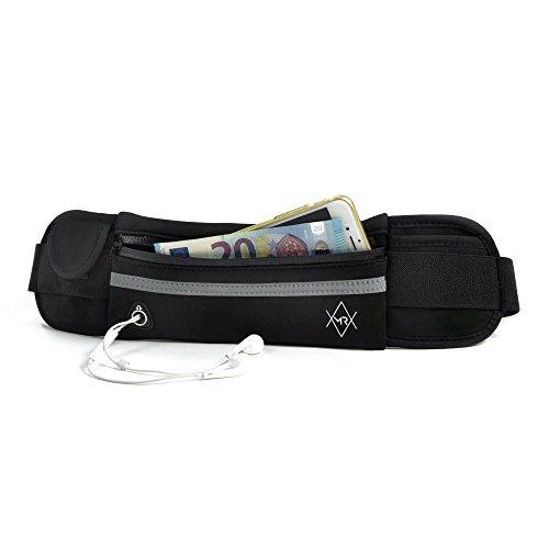 MR Couture – wasserfeste Neopren Bauchtasche im Ultra flachen Hüftgurt Design - speziell für Wertsachen beim Reisen Sport und Freizeit – Verstauen Sie Handy, Geld und Kopfhörer in der Brusttasche (Reise-geld-clip)