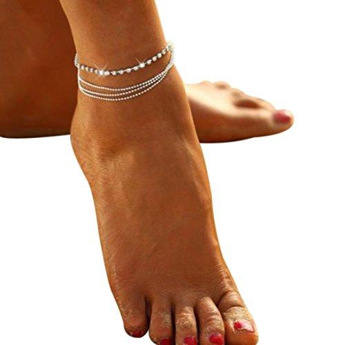 Kavitoz - Cavigliera con catenina e sfere di cristallo, per donne e ragazze, un accessorio alla moda per le feste o per andare al mare, Silver, 15