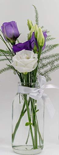 casa-vetro 12 x kleine Vasen Glasflaschen C-Deko-TR-Weithals inklusiver Schleife Glasfläschchen Landhaus Vintage Vase Flasche Glas klar Mini Milchflaschen Dekoflaschen (Vintage Glas Vase)