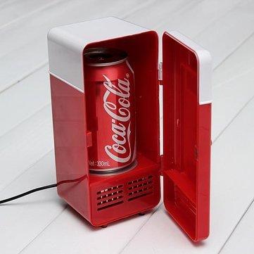 USB LED PC Fridge Refrigerator Drink Cans Food Cooler- Red
