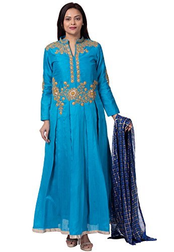 Utsav Fashion Embroidered Bhagalpuri Silk Abaya Style Suit in Light Blue