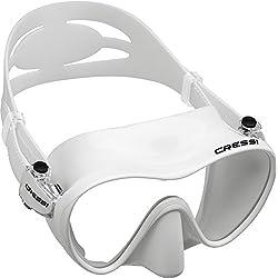 Cressi F1, plongée avec tuba Masque sans cadre italien Qualité depuis 1946, mixte Enfant, blanc