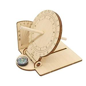 Garneck 1 Stücke Äquatoriale Sonnenuhr Ornament DIY Holz Pädagogisches Wissenschaftliches Sonnenuhr Modell für Kinder Kinder Studenten