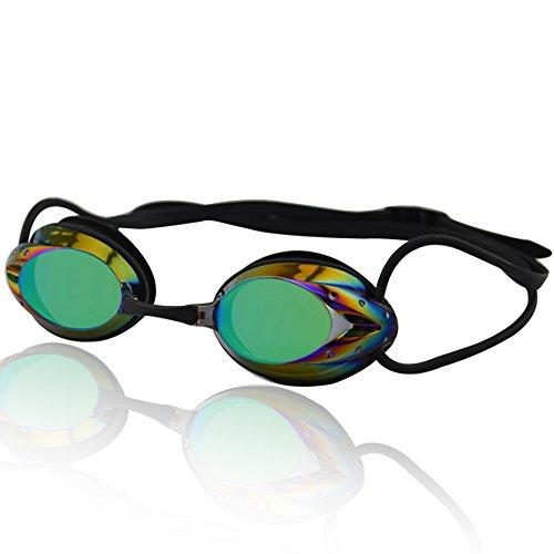 Occhialini da nuoto »Harpoon«, 100% protezione raggi UV + anti-appannamento. Cinturino resistente in silicone + confezione rigida. QUALITÀ DELLE MIGLIORI MARCHE! AF-2000m, nero