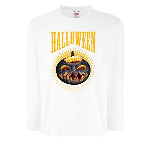 Kinder-T-Shirt mit langen Ärmeln Halloween Kürbis - Party Kostüm Ideen 2017 (14-15 years Weiß (Vier Ideen Halloween Kostüm Familie)
