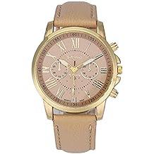 KanLin1986 Las mujeres de cuero reloj de cuarzo analogico Numeros romanos reloj de pulsera