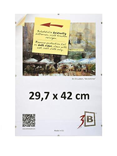3B Conjunto de 3 piezas CLIP FRAMES - 29,7x42 cm (A3) (ca. 12x17) vidrio de Plástico
