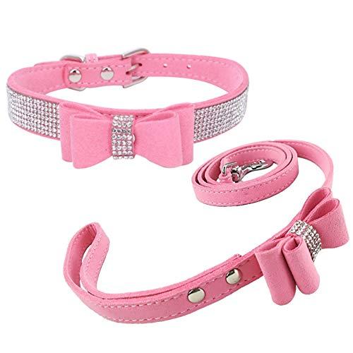Newtensina Collier de chien de mode et laisse avec noeud papillon Laisse de collier de chiot de Bling avec l'arc pour le chien