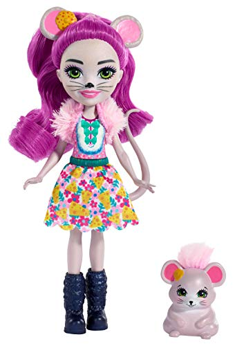 Enchantimals FXM76 Mayla Mouse Doll (6 Inch), and Fondue Animal Friend Figure, Multicolour