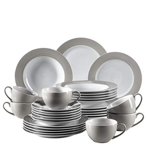 Mäser, Serie Kitchen Time, Kombiservice 30-teilig, Geschirrset für 6 Personen, in der Farbe Grau