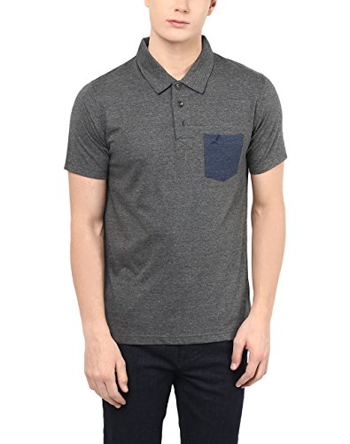 American Crew Men's Solid Polo With Contrast Pocket T-Shirt - XL (ACF09-XL_Charcoal_X-large)