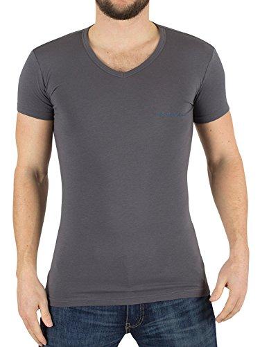 Emporio Armani Herren 2er-Pack mit V-Ausschnitt-Logo-T-Shirt, Blau Blau