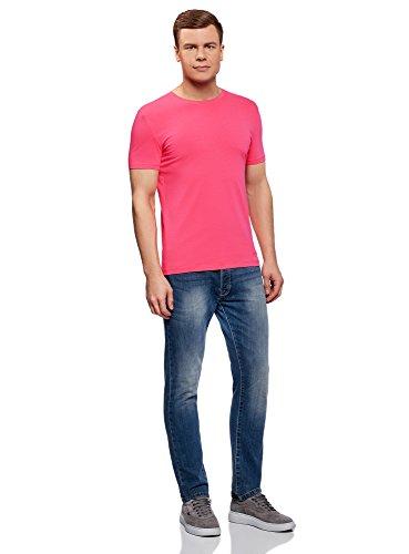 oodji Ultra Herren Tagless T-Shirt Basic Aus Baumwolle Rosa (4D00N)