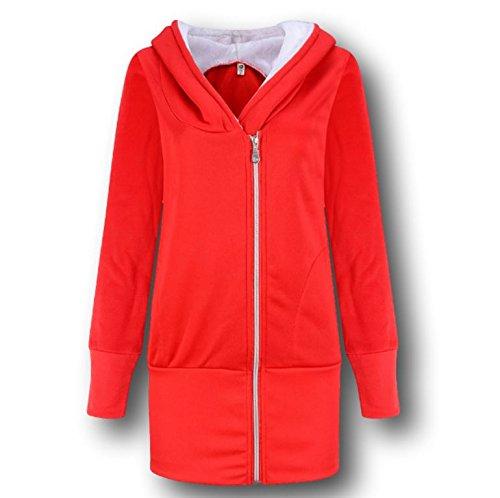 Ducomi® Felpa Modello Lungo da Donna con Cappuccio Foderato e Zip Asimmetrica (Red, L/XL)