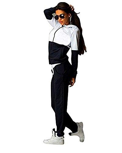 PengGeng Damen Elegant Trainingsanzug Zip Hoodie Sweatshirt Anzug Mit Hose 2Pcs Jogginganzug Sportanzug Schwarz XL -