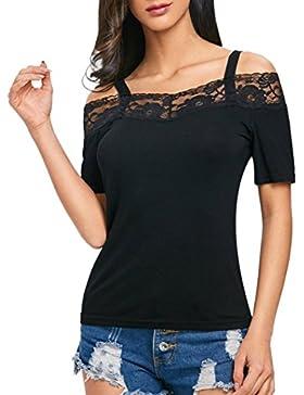 LuckyGirls Camisetas Mujer Originales Manga Corta Tirantes Encaje Hombro Sexy Remeras Blusa Camisas