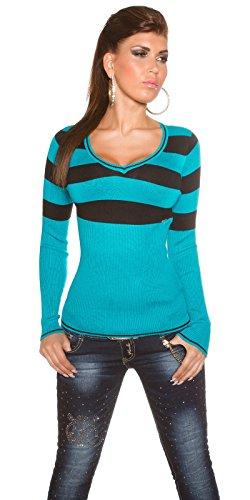 KouCla Pull tricoté moulant pour femme Motif à rayures Taille: 34,36,38 Vert - Pétrole