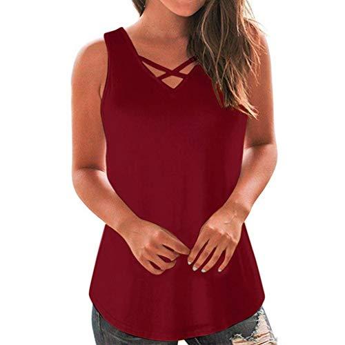SHOBDW Damen Sommer Frauen Plus Größe Ärmellose Kreuz Bandage Weste Tops Casual Bluse T-Shirt Freizeit Oberteile Tees Camisole