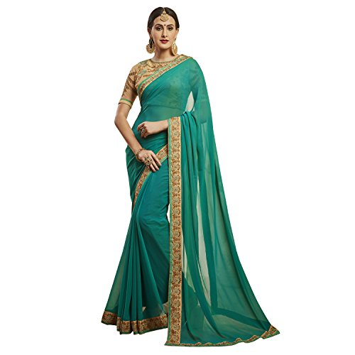 KVS FAB Georgette Green And Beige Color Embroidered Saree