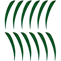 P Prettyia 12 Pedazo Pluma de Flecha Suministros de Entrenamiento de Tiro con Archero Colorido - Verde Oscuro, 3 Pulgadas