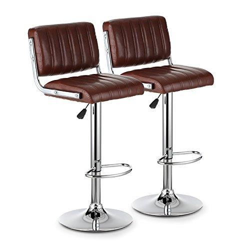 IKayaa Ensemble de 2 tabourets de bar pivotants en cuir moderne en cuir Comptoir pneumatique à hauteur réglable Chaises de bar Heavy-Duty