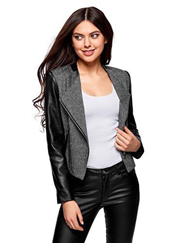 oodji Ultra Damen Blazer mit Lederimitat-Ärmeln und Asymmetrischem Reißveschluss, Grau, DE 34 / EU 36 / XS -