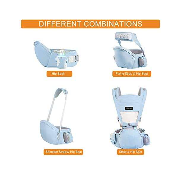 Azeekoom Baby Carrier, Ergonomic Hip Seat, Baby Carrier Sling with Fixing Strap, Bibs, Shoulder Strap, Head Hood for Newborn to Toddler from 0-36 Month (Light Blue)  【More Ergonomic】 - Baby carrier for newborn has an enlarged arc stool to better support the baby's thighs, the M design that allows the knees to be higher than the buttocks when your baby sits, is more ergonomic.The silicone granules on the stool provide a high-quality anti-slip effect that prevents the baby from slipping off the stool. 【Various Methods of Carrying】- There are 5 combinations of ergonomic baby carrier and a variety of ways to wear them.Hip Seat/Fixing Strap + Hip Seat/Shoulder Strap + Hip Seat/Strap + Hip Seat/Strap, 5 combinations to meet your needs.Fixing Strap frees your hands and prevent your baby from falling over the stool.The shoulder straps reduce the burden on your waist and make you more comfortable. 【More Comfortable】 - The baby carrier is made of high quality cotton fabric with 3D breathable mesh for comfort and coolness. The detachable sunshade provides warmth in winter and fresh in summer. The detachable cotton slobber allows you to Easy to change. At the same time, the zip closure is designed for easy removal and cleaning. 4