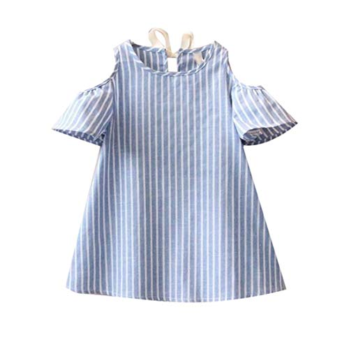 Style d'été Enfants Robe épaule Manches Courtes Robe Mode rayé Tenue décontractée Vêtements de fête pour Les Enfants Filles - Bleu 15 Sanzhileg