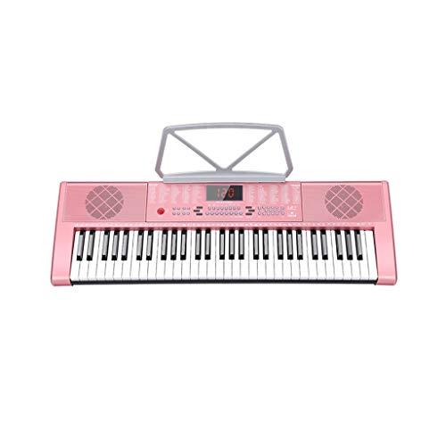 LIUFS-Tastatur 61-Tasten-Multifunktions-Lerntastatur Einsteiger-Musikinstrument Für Kinder Mit Zither ( Farbe : Pink )