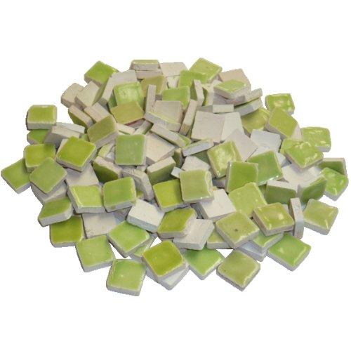 229302810x 10x 3mm 70g 150-tlg. Keramik glasiert Mosaik-Fliesen, gelb/grün